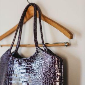 Neiman Marcus Bags - Vintage 90s Deep Violet Crocodile Shoulder Satchel